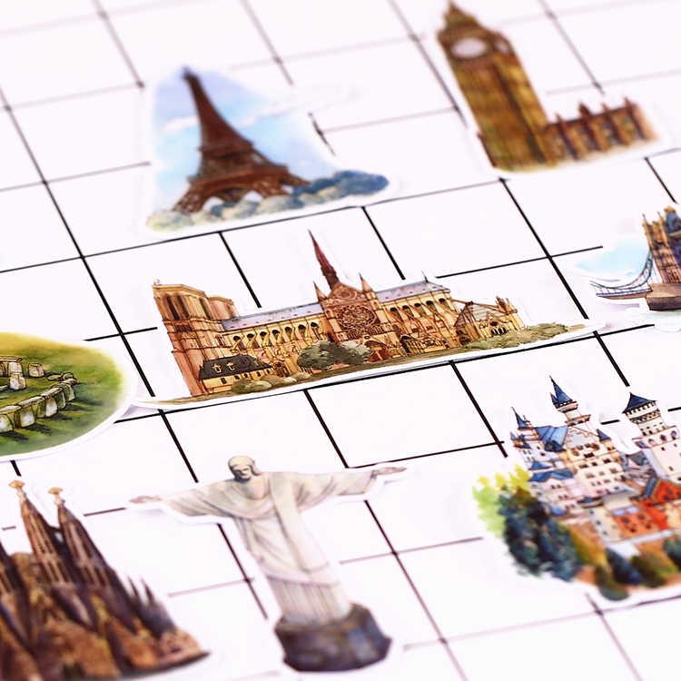 15 PCS Vintage diary European architecture Scrapbooking Stickers Decorative Sticker DIY Craft Photo Albums