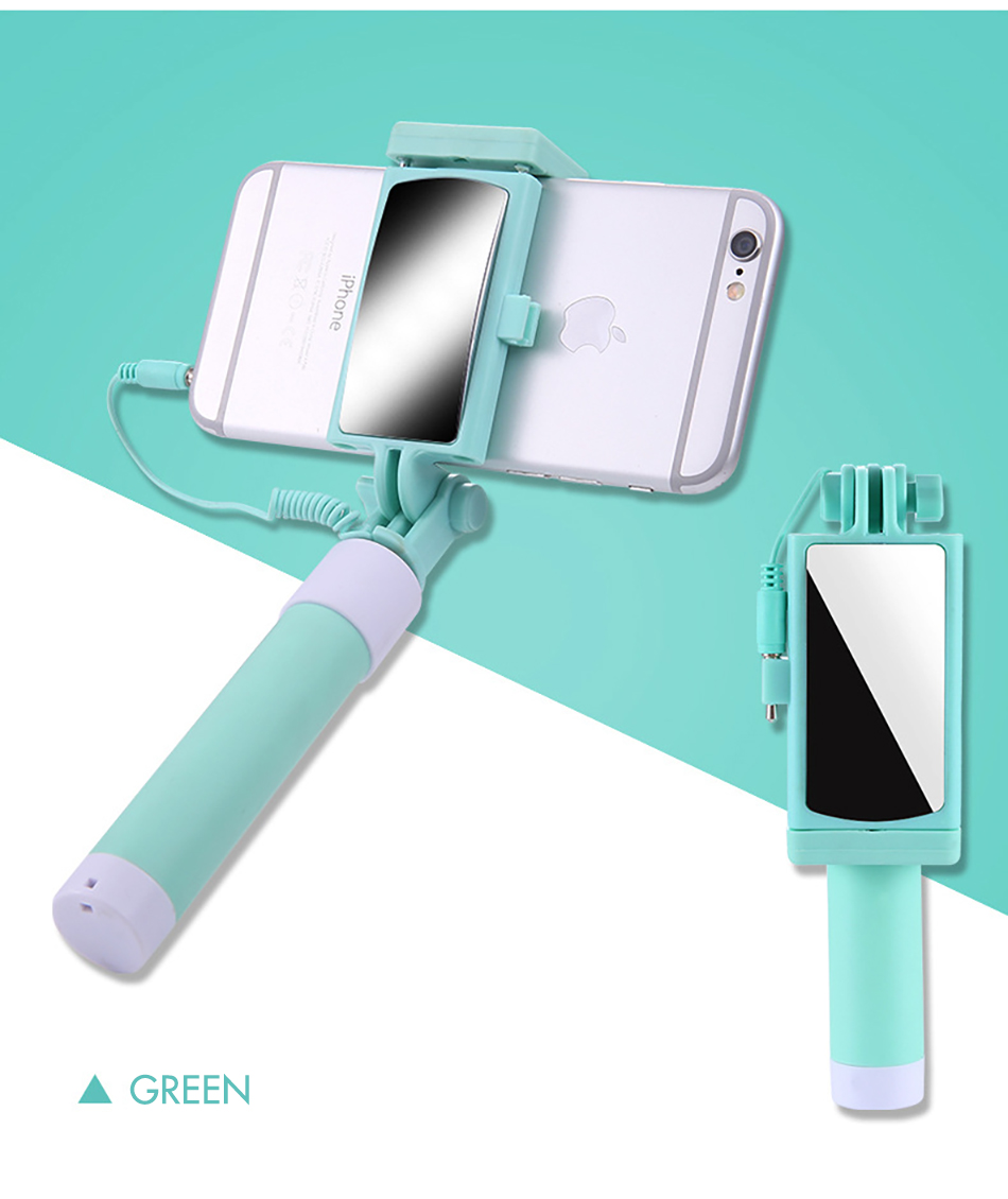 !ACCEZZ Mini Wired Selfie Stick IOS For iPhone X XR XS MAX 8 7 6 For Huawei Samsung Monopod Foldable Portable Selfiestick Mirror (15)