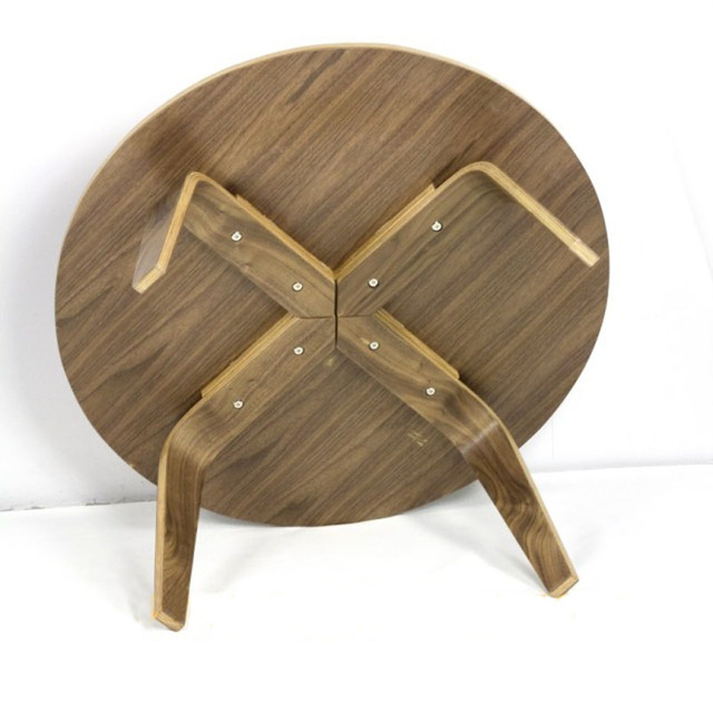 Round Plywood Table Walnut Wood Coffee Table DIA86*H40CM