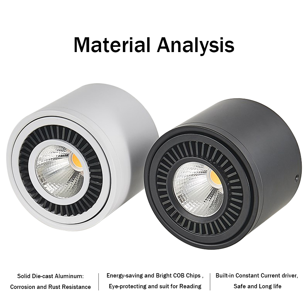 HTB1nFToPhTpK1RjSZR0q6zEwXXav LED Surface mounted Ceiling Light 5w 7w 9w 15w Dimmable Ceiling Lamp 360 degree rotatable COB background spot light For Home