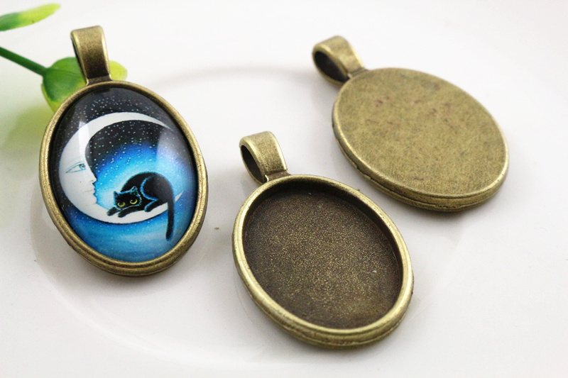 4pcs 18x25mm Inner Size Antique Bronze Classic Style  Cameo Cabochon Base Setting Charms Pendant Necklace Findings  (C3-04)