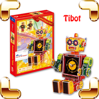New DIY Gift Robot Clock Tibot 3D Puzzles Cartoon Robot Model Kids Education Tool Paper DIY Puzzle Brain Game For Child