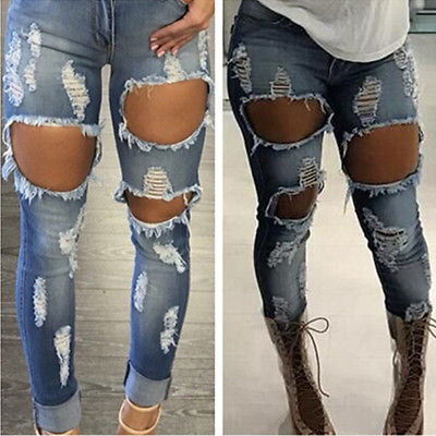 High Waist Stretch Jeans Sexy Women's Denim Skinny Ripped Pants  Slim Pencil Trousers Lady Hole Jean Pants Vitage high waist jeans ripped stretch pants