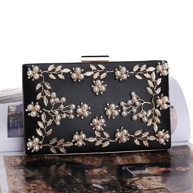 Fashion New Women Evening Clutch Bags PU Chain Shoulder Handbags Leaf Metal Beaded Evening Purse Messenger Bags 5