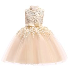 Children Dresses Elegant Toddler Girls 2018 Summer Baby Girls Lace Princess Dress Kids Party Dresses For Girls 3 5 7 9 10 Years(China)