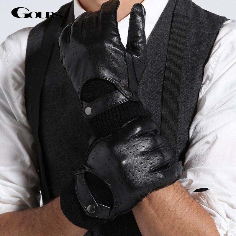 Gours Gloves 2018 Spring Autumn Fashion Casual New Men Genuine Leather Glove Goatskin Mitten Black Warm Knitting Button GSM003