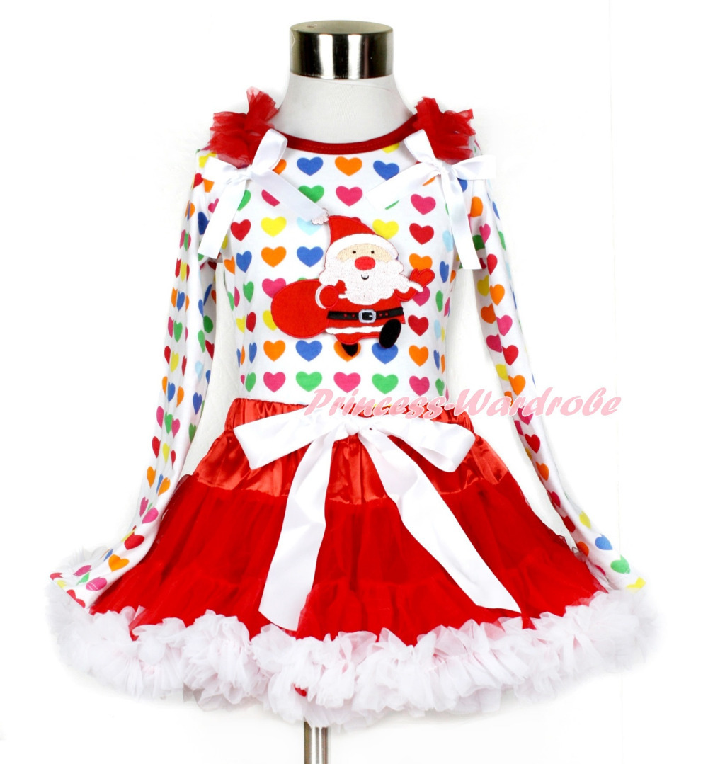 Xmas Red White Pettiskirt with Gift Bag Santa Claus Print Rainbow Heart Long Sleeve Top with Red Ruffles & White Bow MAMW408 white pettiskirt with patriotic america heart white ruffles