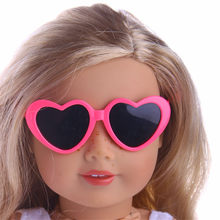 2018 Top 1PC Colorful Heart-Shaped Frame Sunglasses for 18-Inch Girl Baby Born zapf Dolls Kids' Best Holiday Gifts(China)