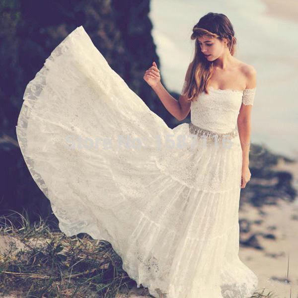 Buy vintage bohemian wedding dresses for Hippie vintage wedding dresses