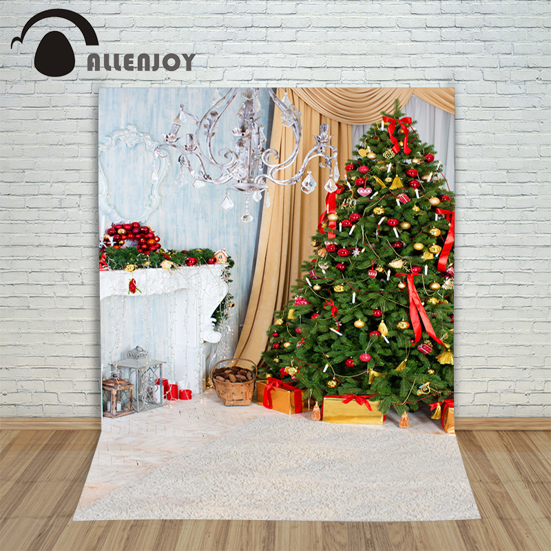 Allenjoy Christmas backdrop Tree gift chandelier fireplace cute professional background backdrop for photo studio 2018 girl summer sets new children s skirt 2pcs college chiffon clothing set white half sleeve blouse black long skirts suits