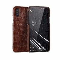 CYBORIS האופנה 3D דפוס עור תנין עור אמיתי כריכה אחורית עבור iphone X 5.8