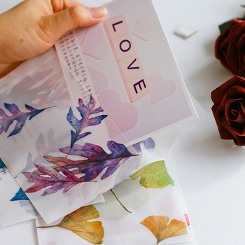 8pcs/pack 16x11cm Blossom Fall leaves Parchment Paper Translucent Envelope Message Card Letter Stationary Storage Paper Gift