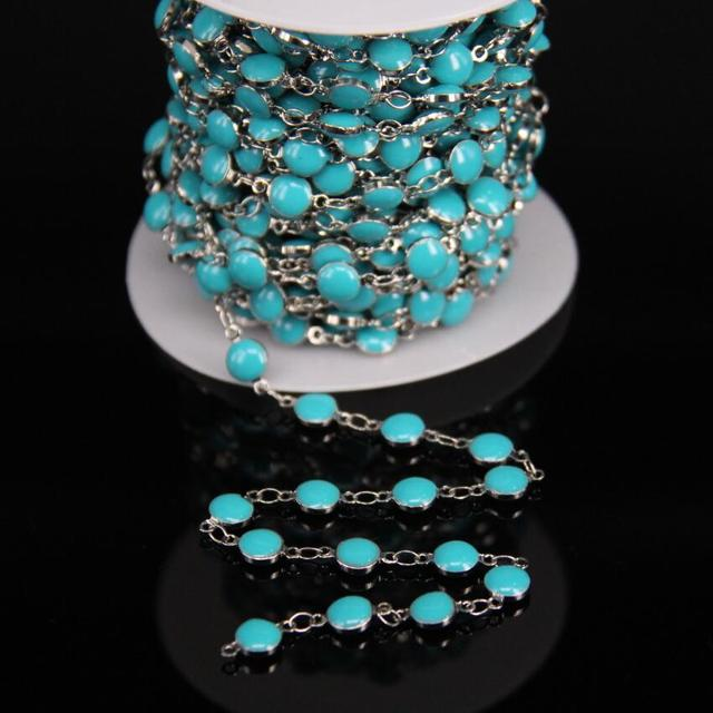 6mm Turquoises Blue Lampwork Bead Copper Chain,Drip Oil Coin Glass ...