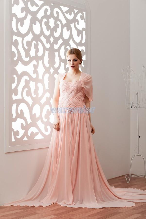 Pink chiffon evening dress