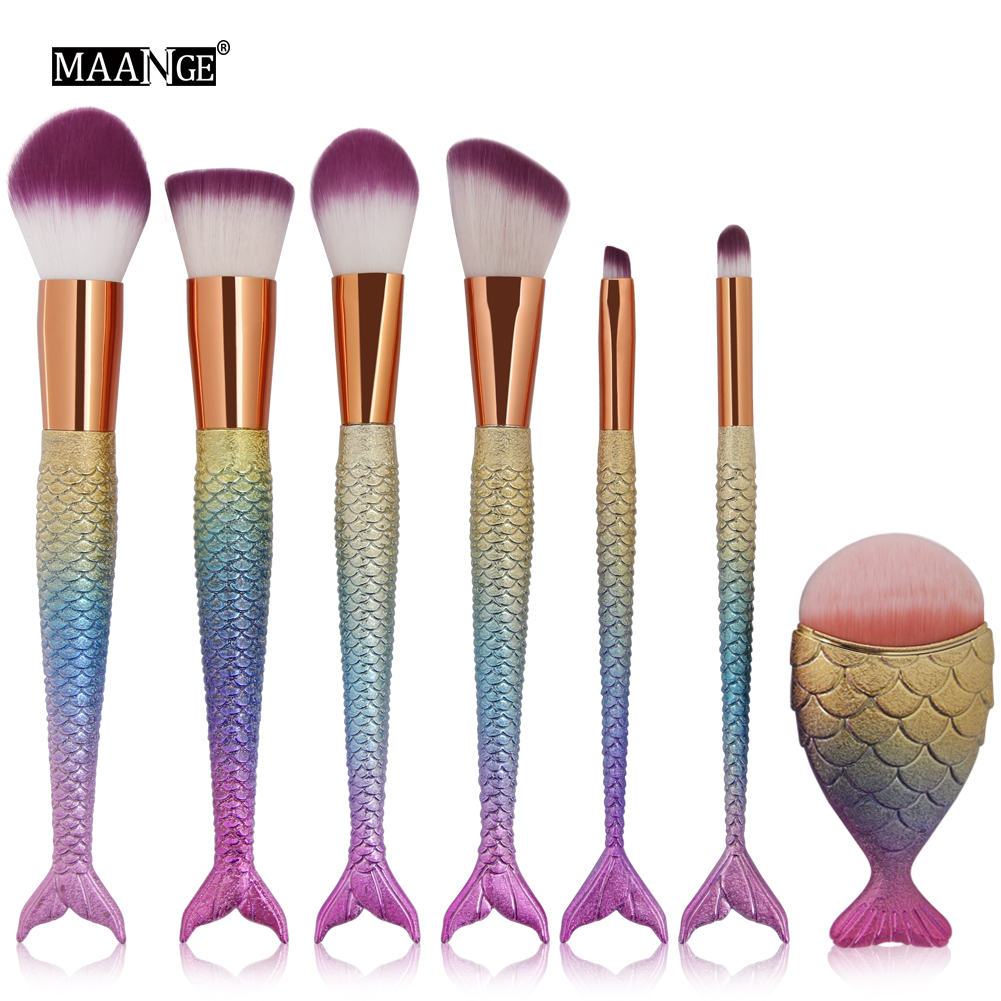 7PCS Mermaid Foundation Makeup Brush Powder Blusher Cosmetic Makeup Brush Tool Fishtail Bottom Contour Cosmetic Brush new design stamp seal shape face makeup brush foundation powder blush contour brush cosmetic facial brush cosmetic makeup tool