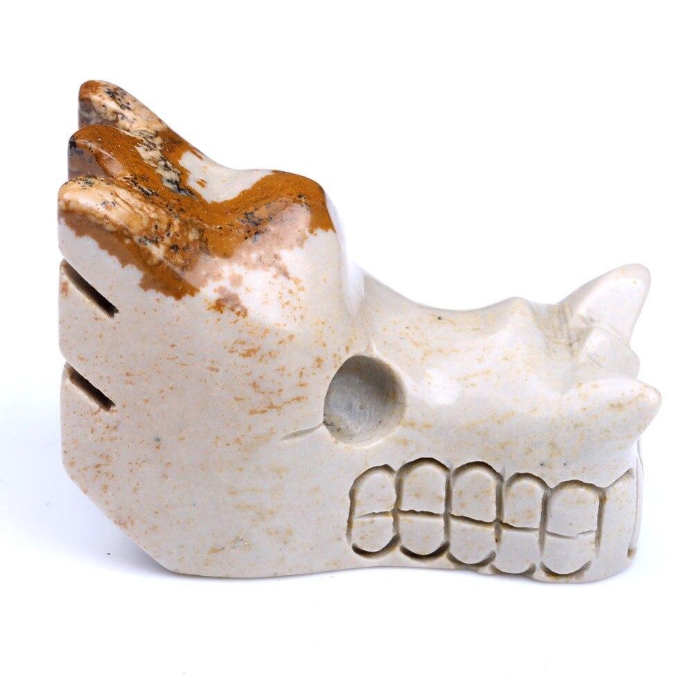 2 Natural в стиральной машине изображение яшма Дракон череп выгравированы кристалл драгоценный камень ремесел SKC041