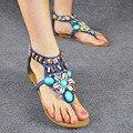 Women Summer shoes 2017 hot breathable Bohemia Sandals women fashion string bead women shoes size 34-41
