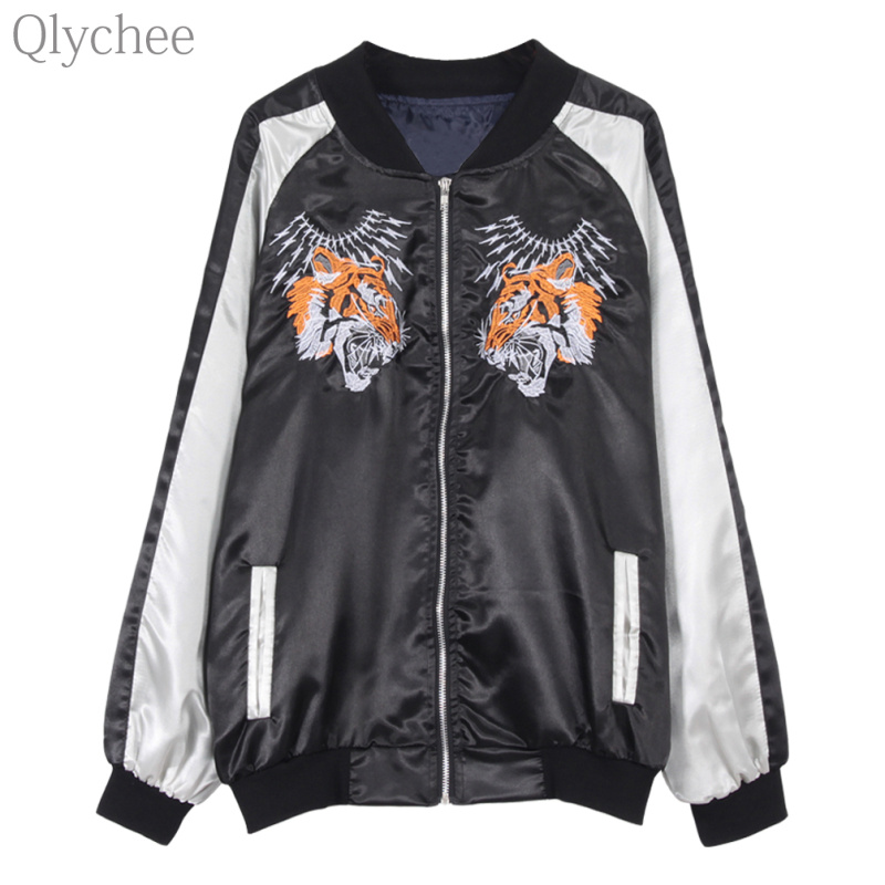 Qlychee Autumn font b Women b font Streetwear Outerwear Tiger Embroidery Bomber font b Jacket b