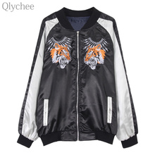 Qlychee Autumn Women Streetwear Outerwear Tiger Embroidery Bomber Jacket Long Sleeve Casual Loose Coat