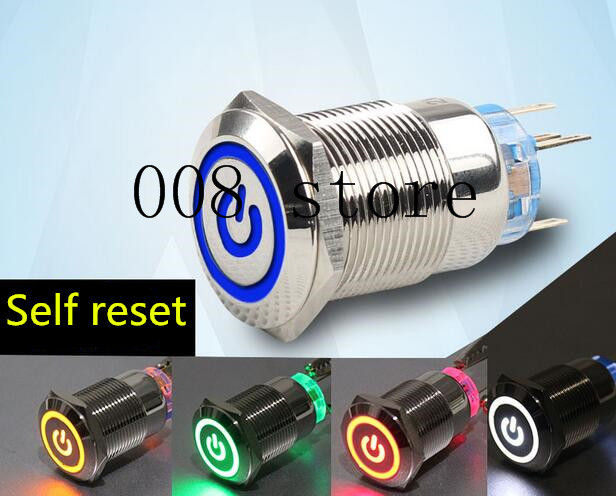 waterproof <font><b>LED</b></font> 5v <font><b>19mm</b></font> metal push button <font><b>switch</b></font> w/ 50cm wire momentary computer power buttons motherboard power <font><b>switch</b></font> image