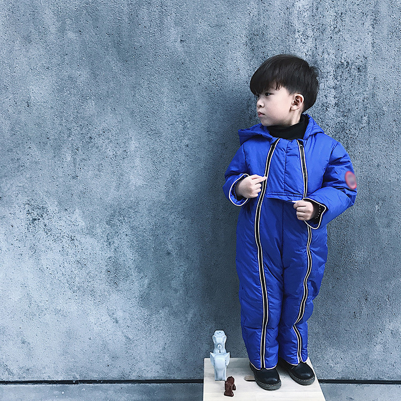 Baby Boys girls Romper Cotton Wadded Fashion Clothing Coral Jumpsuit Kids Winter Thicken Warm Hat Clothes Children Climb Romper