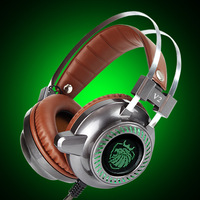Gaming Headset 3 5mm Stereo Auriculares USB Glowing LED Light For PC Laptop Tablet Computer Metal