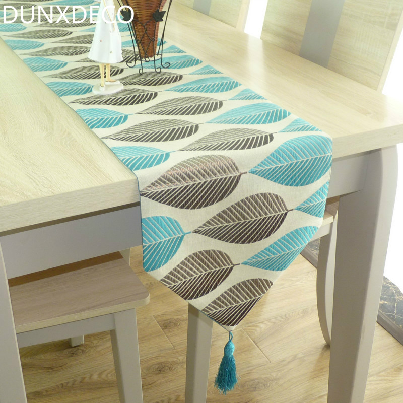 DUNXDECO Table Runner Linen Cotton Leaf Jacquard Party Long Table Cover Fabric Modern Nordic Style Home Warm Decoration