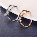 Hot Selling Fashion Rhinestones Simple Couple Rings Bridal Sets Ring for Women Girls Bow Zinc Alloy Party Ring