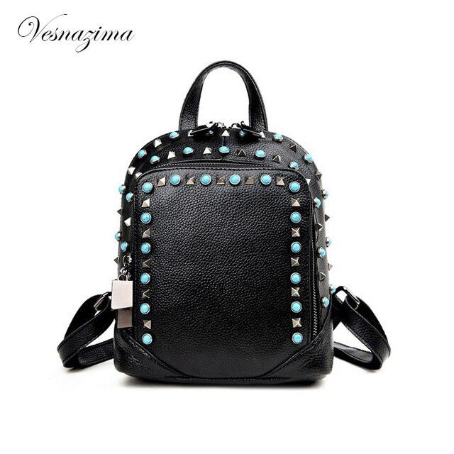 1985e28d1fc25 VZ diamonded kamienie kobiet plecak dla dziewcząt plecaki naturalne lapis  damskie skórzane nity plecak mały plecak