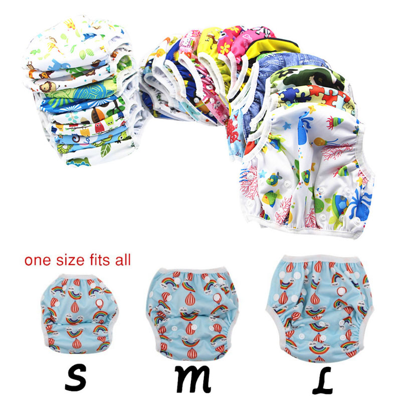 Herbabe 3pcs Baby Swim Diapers Waterproof Adjustable Swimwear Newborns Reusable Cloth Diaper Cover Baby Nappies Swimming Trunks in Baby Nappies from Mother Kids