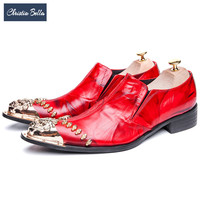 Christia Bella Luxury Italian Gold Metal Toe Men Dress Shoes Red Genuine Leather Party Wedding Formal