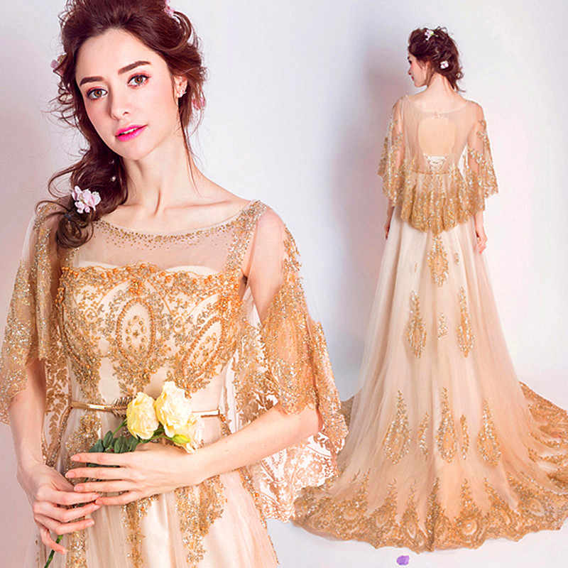 a91d8015af Golden Lace Elegant Photograph Evening Dresses For Pregnant Women Soft  Tulle Long Arabic Real Photo Maternity Clothing