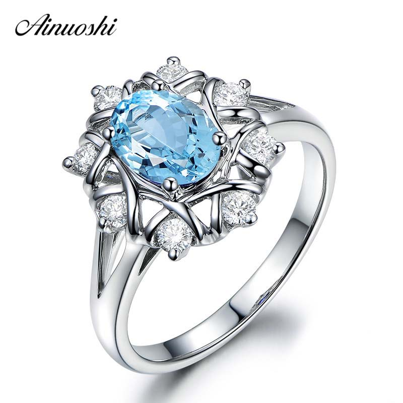 AINUOSHI Genuine 925 Sterling Silver Topaz Weave Ring 1.5 Carat Oval Cut Natural Sky Blue Topaz Ring Luxurious Ring for Female