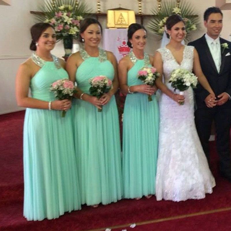 Long mint green bridesmaid dresses halter neckline beaded for Mint green wedding dress