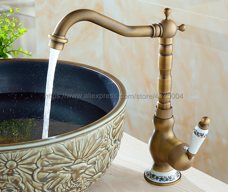 Antique Brass Faucet Retro Carved Basin Faucet Rotating Single Handle Single Hole Hot And Cold Water Nnf510Antique Brass Faucet Retro Carved Basin Faucet Rotating Single Handle Single Hole Hot And Cold Water Nnf510