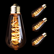ST64 E27 LED Bulb 3W Dimmable Edison Soft Filament Led lamp Super warm 2200K E26 110V Decorative Lighting for Home Patio Party
