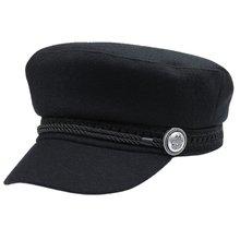 Otoño Invierno sombreros para hombres y mujeres Unisex lana botón visera  sombrero negro Casual casquetas sombreros Venta calient. 500c984b339