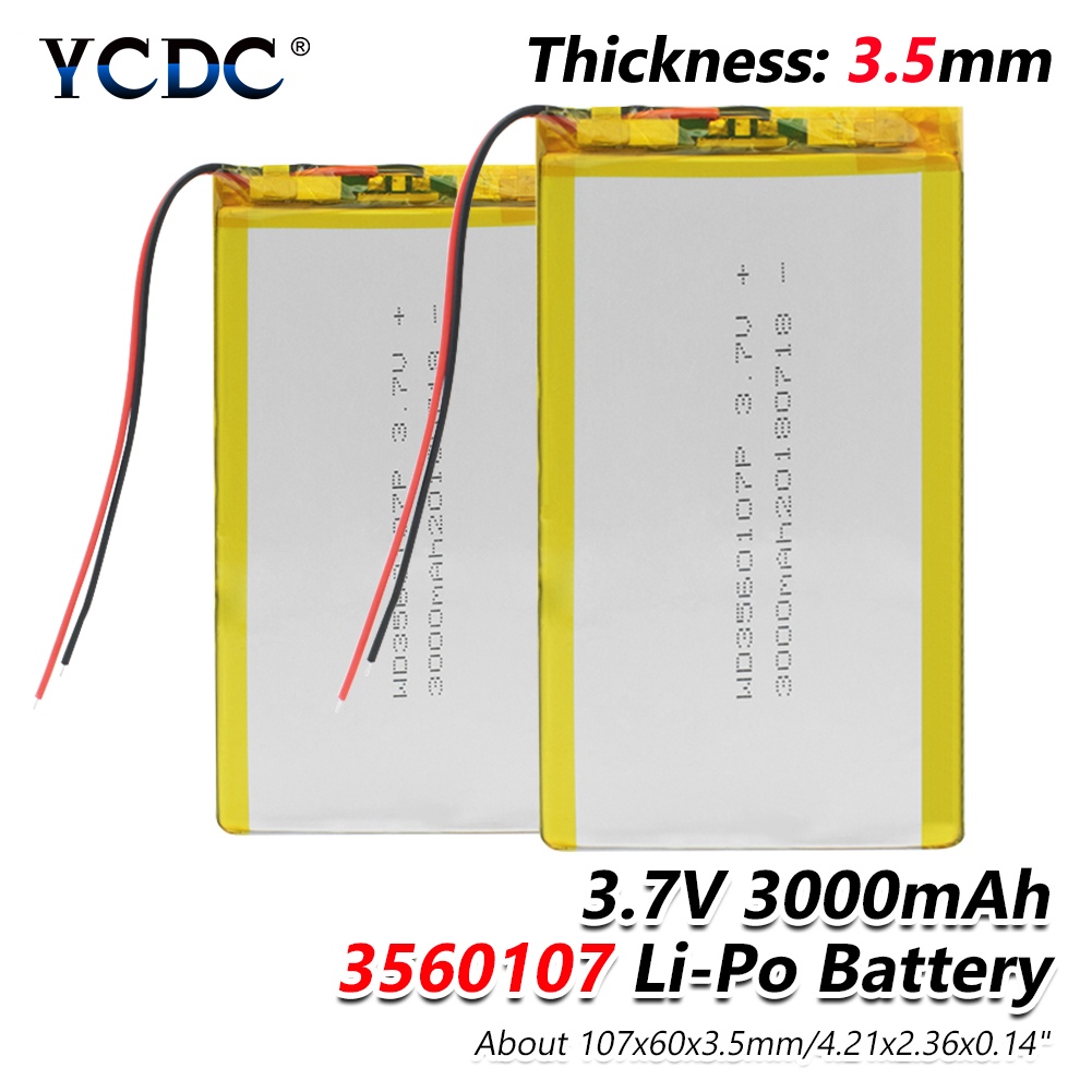 1/2/4 Premium High Quality 3560107 3.7v Volt 4.21x2.36x0.14 Li Polymer Rechargeable Batteries E-book Digital Camera Pos Bateria Replacement Batteries