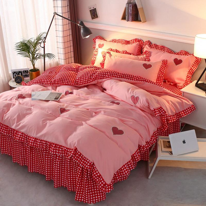 HEARTS BLUE PINK RED SINGLE FITTED SHEET /& PILLOWCASE SET BEDDING CHILDRENS