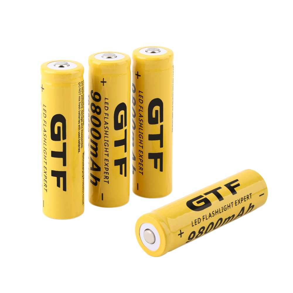 Free shipping 4 pcs set 18650 battery 3 7v 9800mah rechargeable liion battery for led flashlight