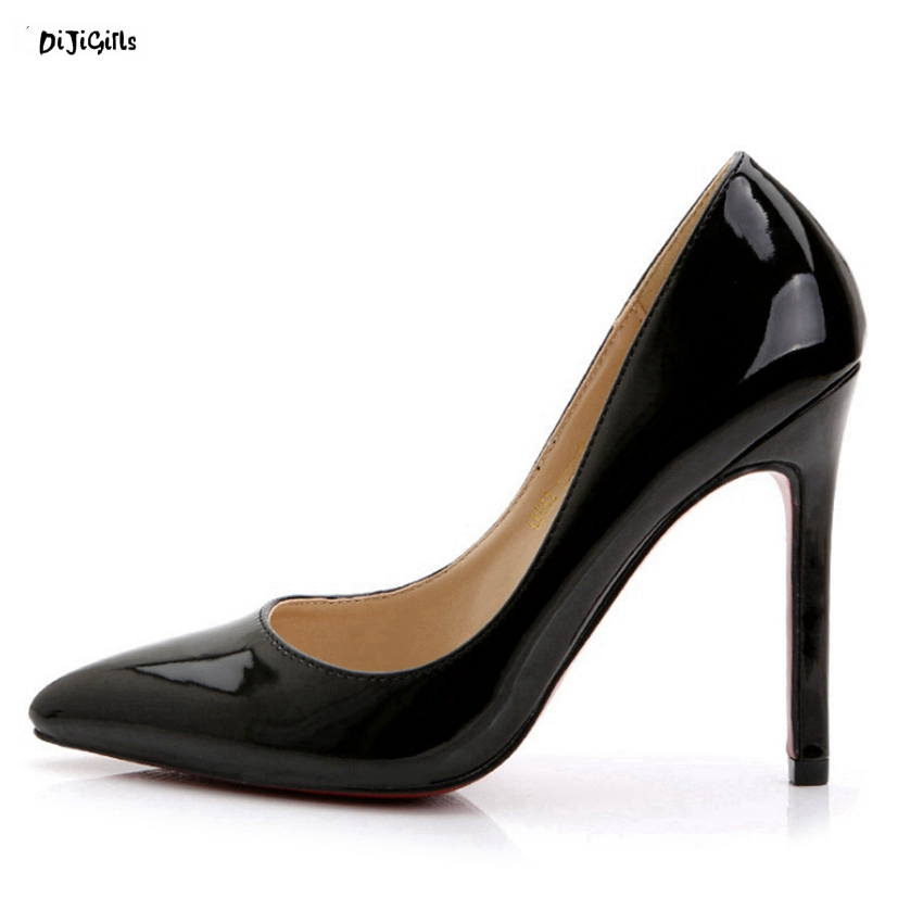 Women Sexy Pointed Toe High Heels Fashion Patent Leather Slip On Party Shoes Woman Plus Size Stiletto Pumps hzl01 fashion patent leather bridal shoes women pumps pointed toe high heels shoes woman rhinestone wedding party women shoes