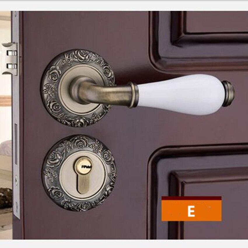Модный механический замок для межкомнатной двери с Золотой резной розой, бронзовый, слоновой кости, белый, для спальни, кухни, из цельного дерева, для двери, керамический замок с ручкой - Цвет: E locks
