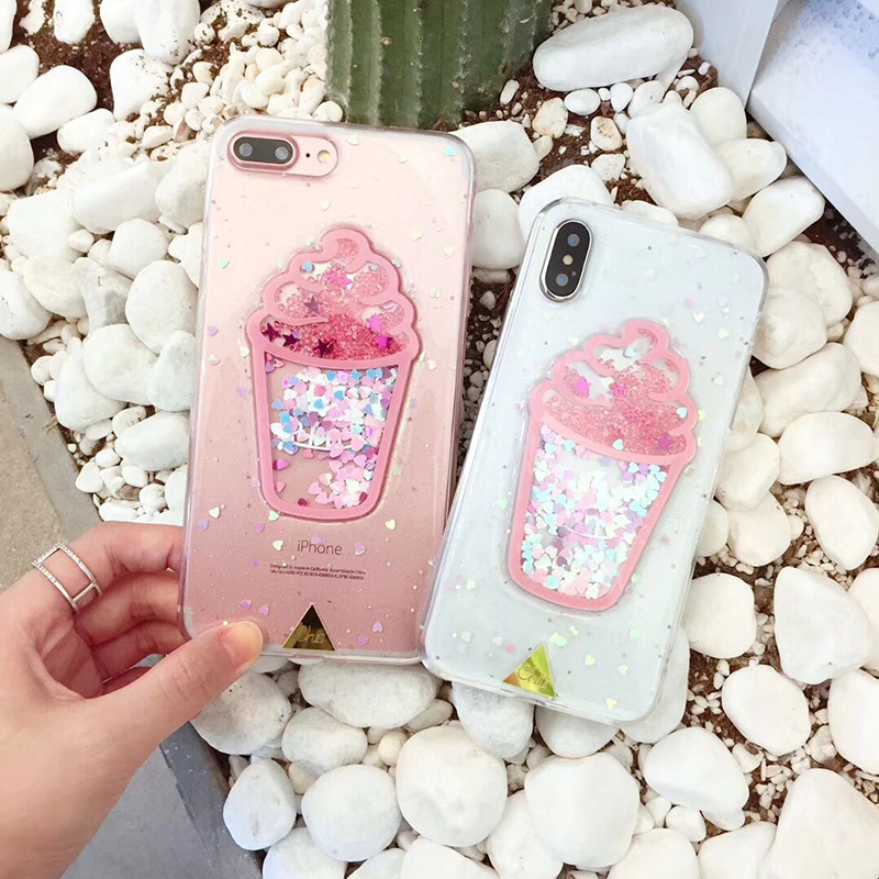 Dynamic Ice Cream Bling Glitter Love Heart Cute Phone Case