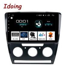 Idoing 10,2 «1Din 2.5D ips 4G + 64G Восьмиядерный автомобильный Android 8,1 Радио мультимедийный плеер для Skoda Octavia 2007-2014 gps навигация