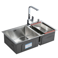 304 Stainless Steel 4MM Thickened Manual Sinks Double bowl Sinks Kitchen sink faucet tap Set with