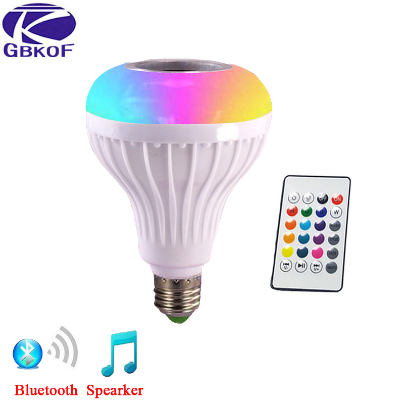 E27 Smart RGB Wireless Bluetooth Speaker Bulb Music Playing Dimmable LED RGB Music Bulb Light Lamp with 24 Keys Remote Control led rgb bulb lamp app remote control e27 speaker bluetooth 4 0 music led night light