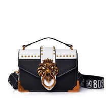 Brand Fashion Metal Lion Head Mini Small Square Pack Shoulder Bag Crossbody Package Clutch Women Designer Wallet Handbags