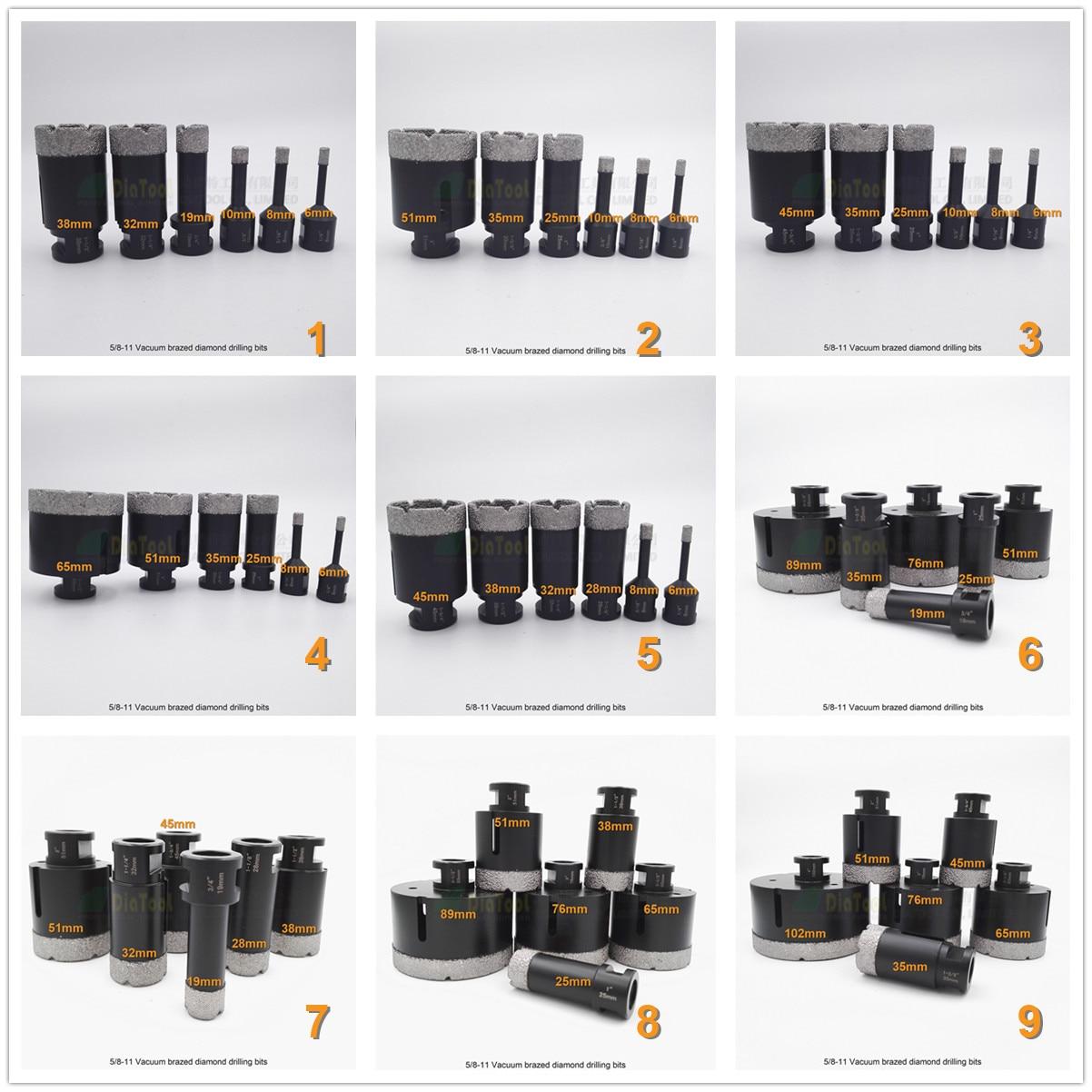 DIATOOL 6pcs/set Vacuum Brazed Diamond Dry Drilling Bits Dimeter 6mm+8mm+10mm+19mm+25mm+35mm 5/8-11 Connection diatool 2pcs 230mm vacuum brazed diamond