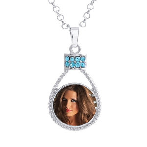 Image 2 - button necklaces pendants for dye sublimation zircon necklaces pendant jewelry for women heat transfer printing blank consumable