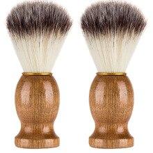 Włosia borsuka pędzel do golenia dla mężczyzn Salon mężczyzn broda na twarz przybory do czyszczenia golenie narzędzie Razor Brush z drewnianą rączką dla mężczyzn